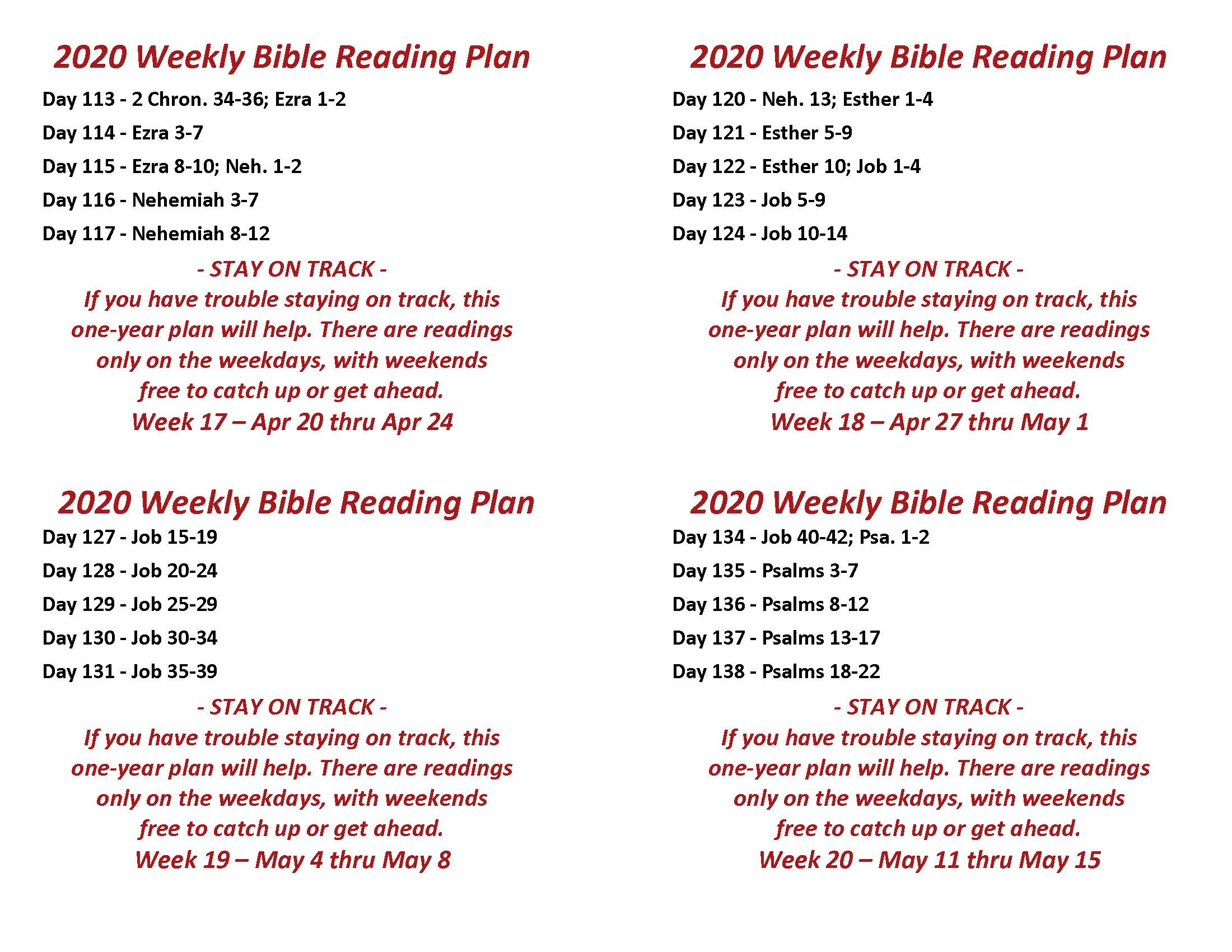 Read the Bible Through in a Year Apr 20 thru May 15