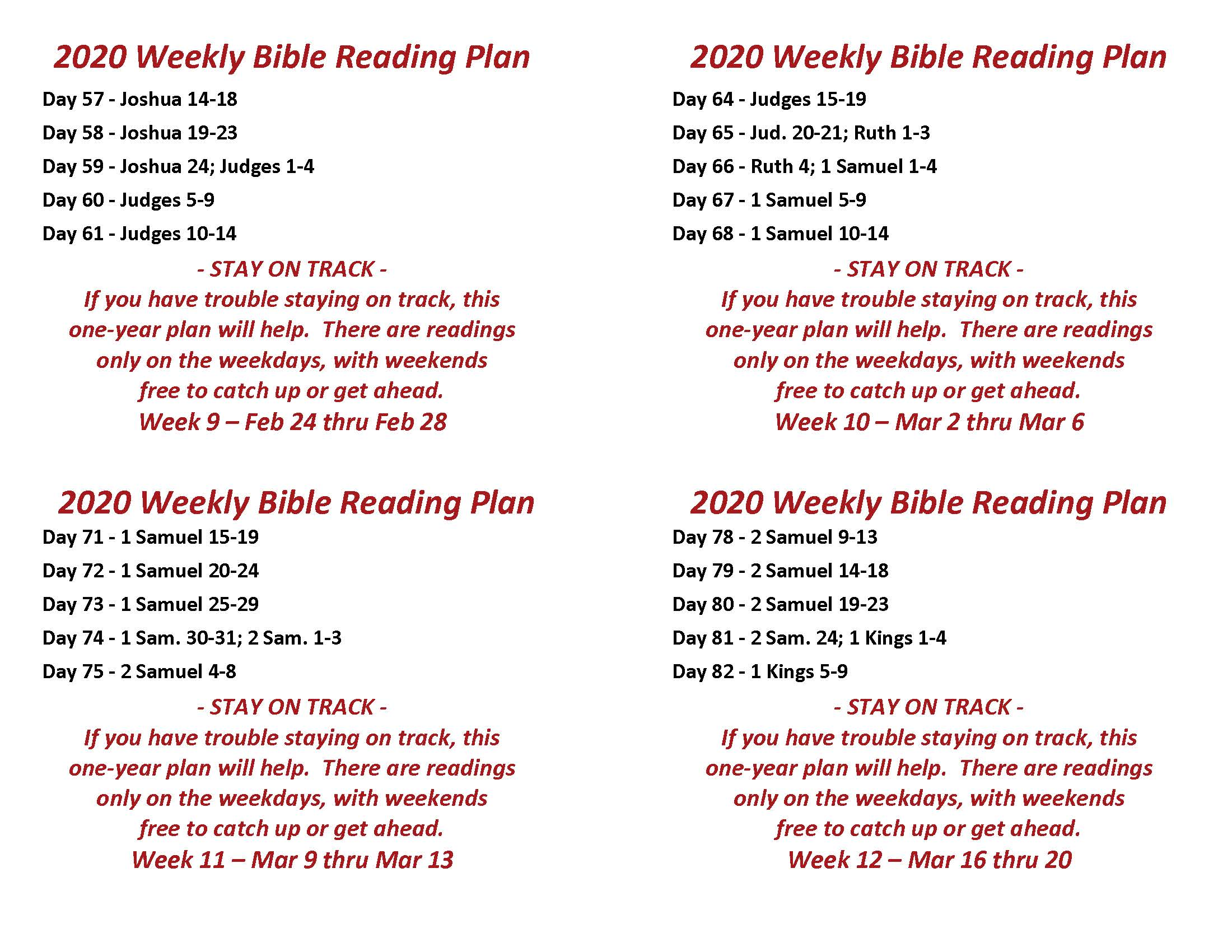 Read the Bible Through in a Year Feb 24 thru Mar 20