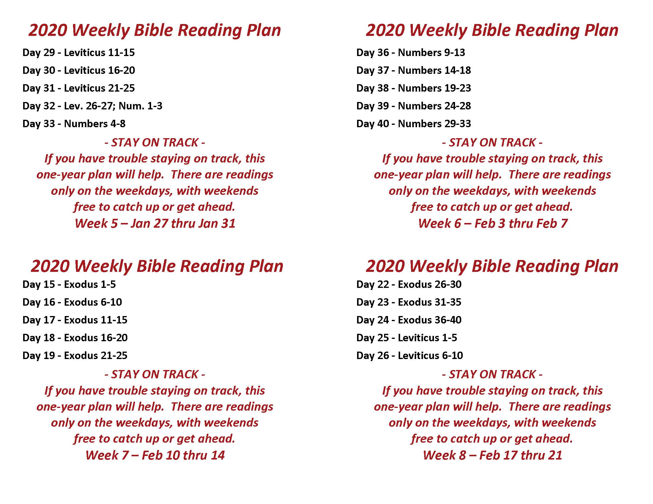 Read the Bible Through in a Year Jan 27 thru Feb 14