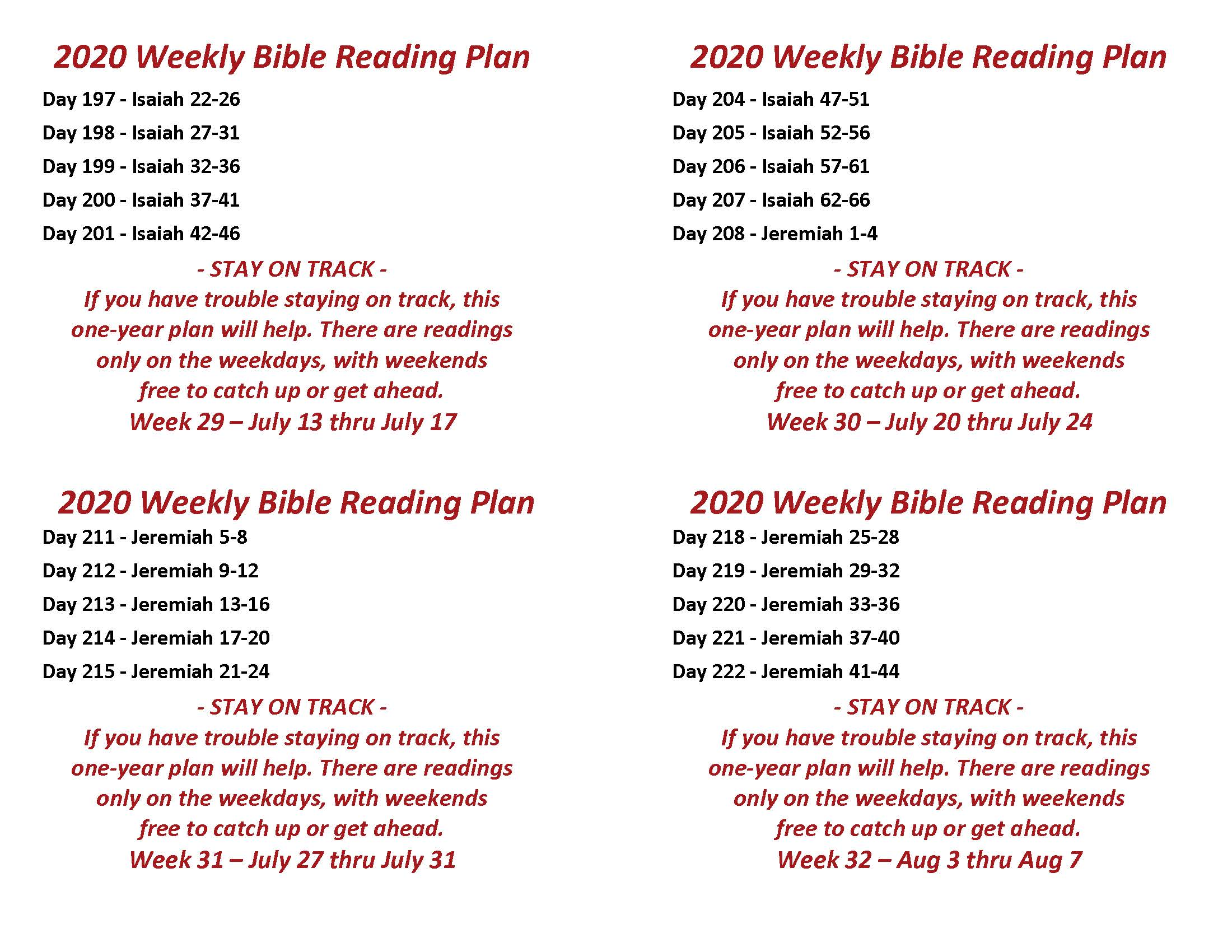 Read the Bible Through in a Year July 13 thru Aug 7