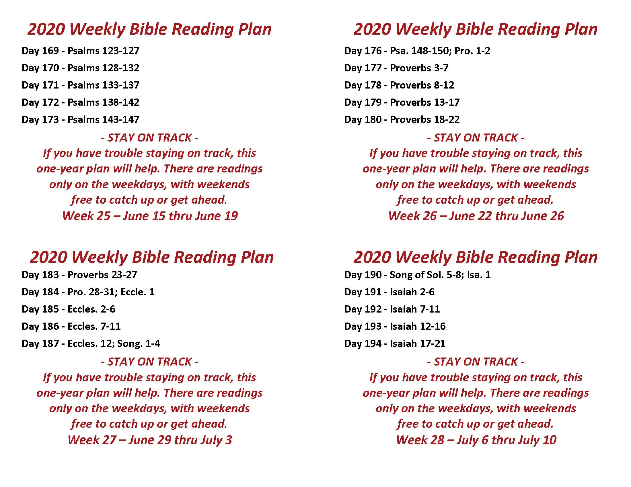 Read the Bible Through in a Year June 15 thru July 10