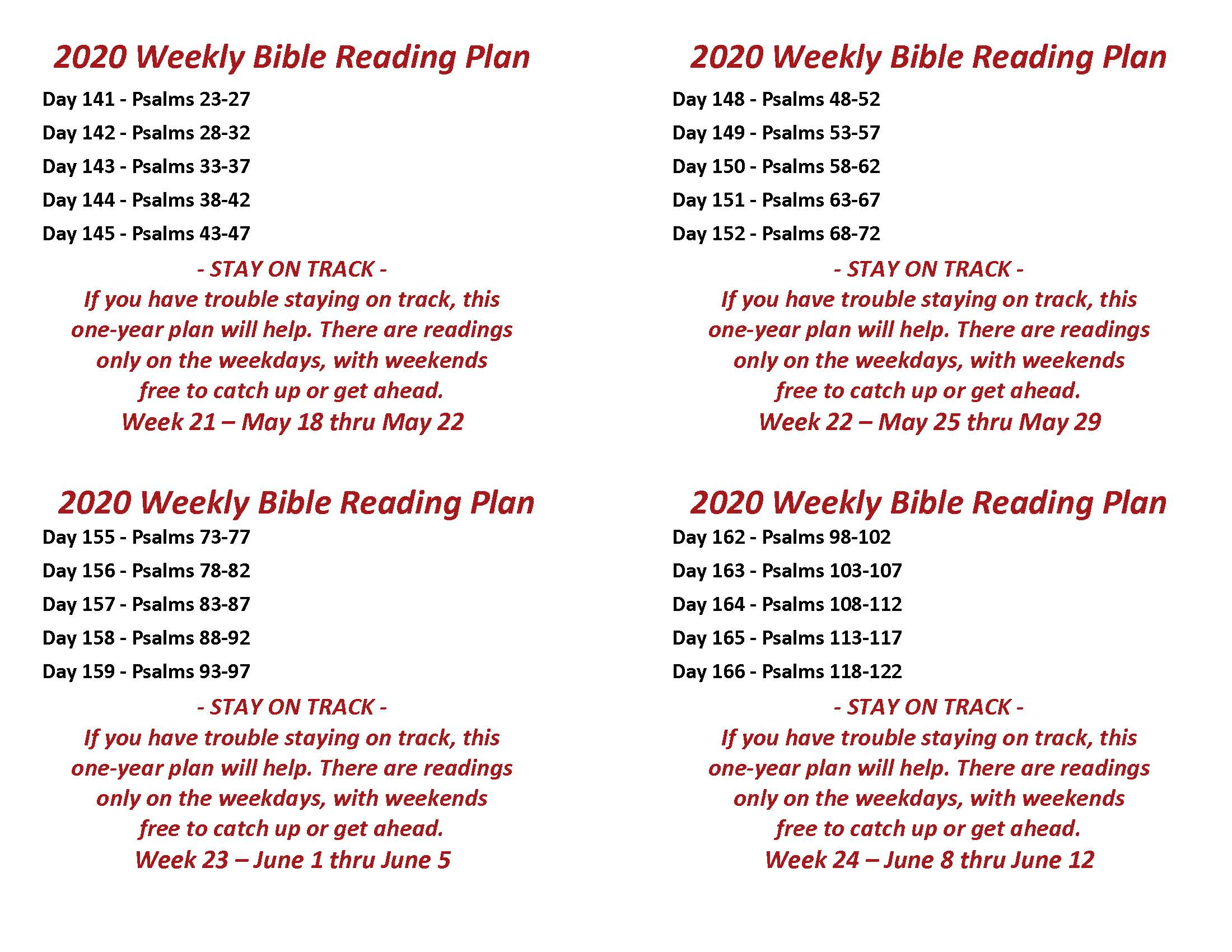 Read the Bible Through in a Year May 18 thru June 12