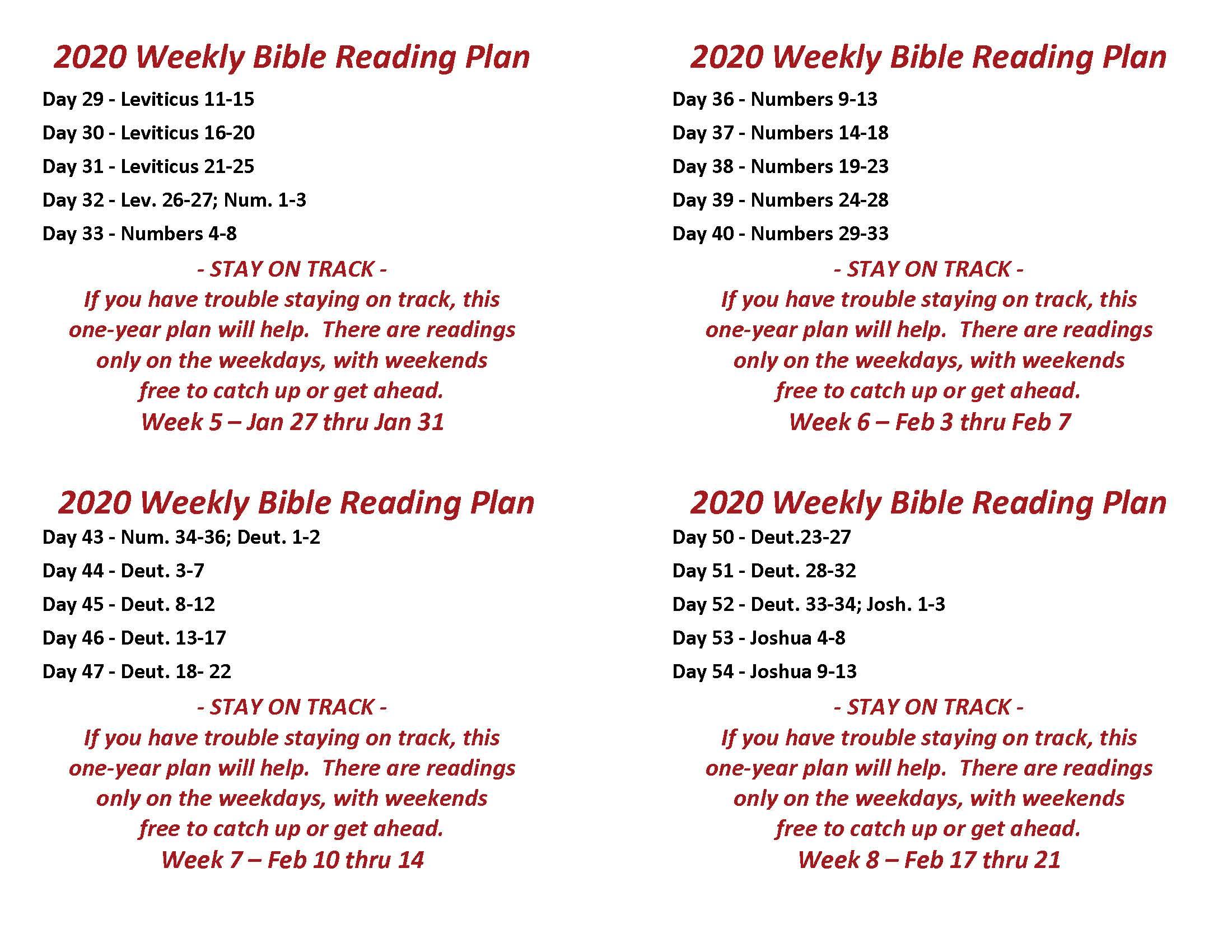 Read the Bible Through in a Year Wk 5-8, Jan 27 thru Feb 21