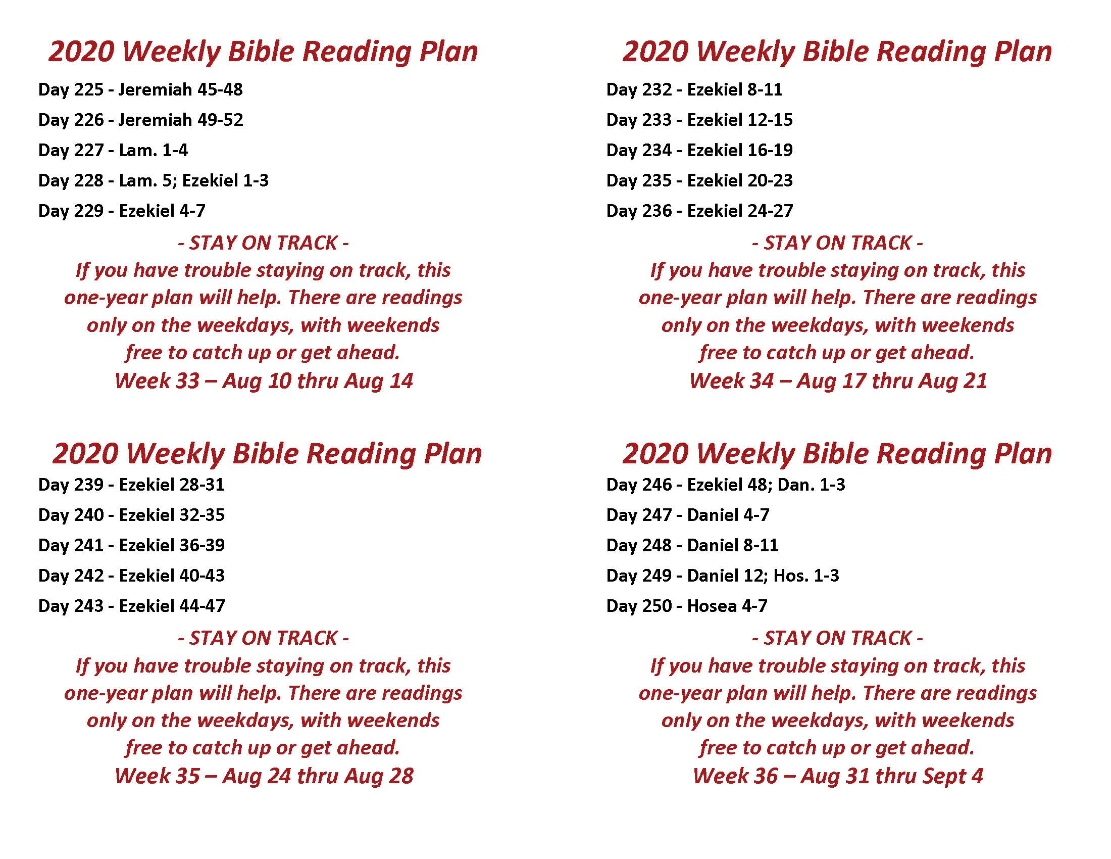 Read the Bible Through in a Year Wk 33-36, Aug 3 thru Sept 4